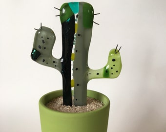 t-Glass Cactus ~ Place in full sun, do not water! Shades of green, home sweet home ~ Hand-made, artist designed, signed, kiln-fired