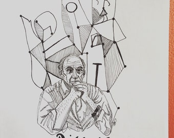Pablo Picasso 8.5 x 11 ink line drawing portrait