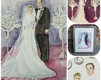 Wedding portrait painted from your photo. Anniversary gift,  Watercolor wedding painting in minimalist or realistic style. Free shipping