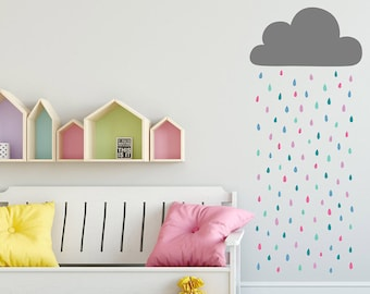 Rain Cloud Wall Decal   Cloud And Rainbow Raindrops Wall Decal, Vinyl Wall  Decal,