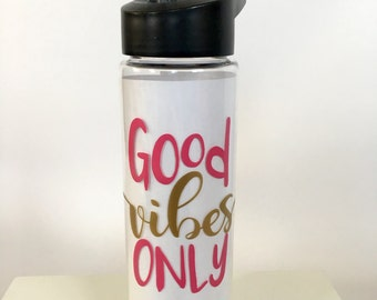 Good Vibes Only 24 oz Sports Bottle, Water Tumbler, Water Bottle, Motivational Water Bottle, Water Bottle Water Tracker, Cute Sport Bottle