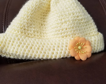 Yellow baby hat, hand crocheted