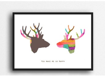 Valentines Day Gift for Him, Fun gift for Boyfriend, Deer print, colorful wall art, gift for Husband, gift for her