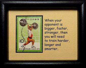 Weightlifting Japan -Handmade Framed Postage Stamp Art 0535W