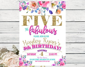 FIVE & Fabulous Watercolor Bohomeian Colorful Personalized 5th birthday invitation- ***Digital File***DIY Printing (Five-Roses)