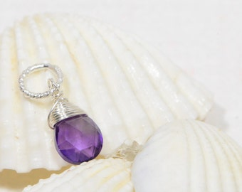 Wire Wrapped  Pendant. Amethyst Briolette and Silver Pendant. Gemstone pendant On Charm Wire Wrapped Beads