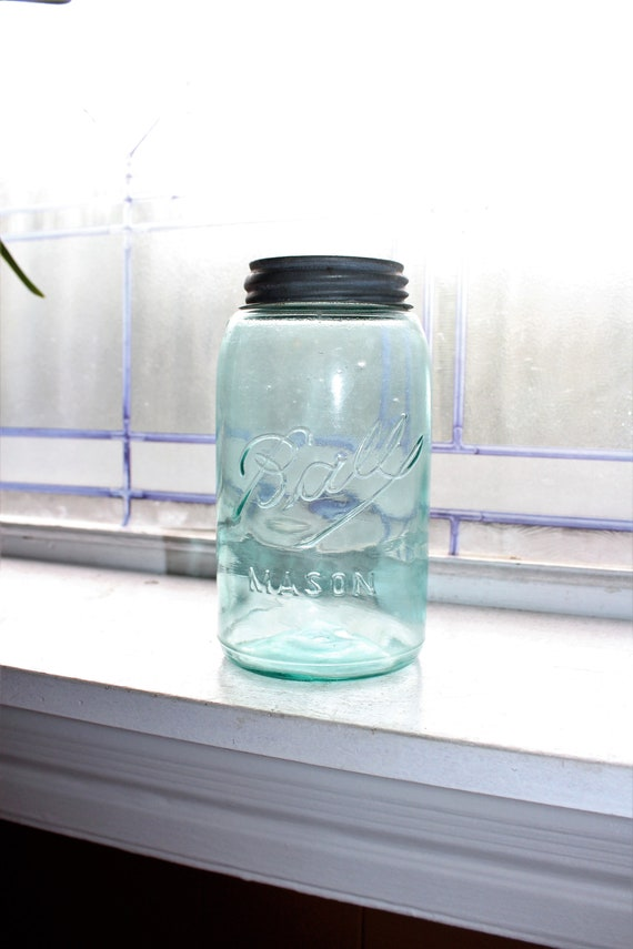 Antique Blue Ball Jar Ball Mason Jar Quart 1896-1910 Three L Logo
