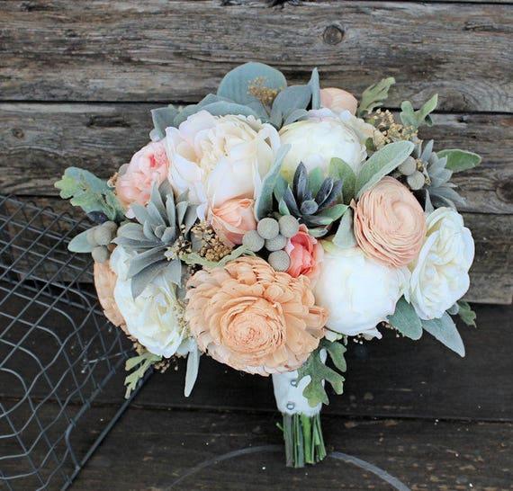 Keepsake Bridal Bouquet Faux Succulents Silk Flowers