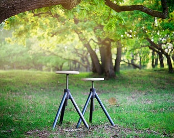 Industrial style stool | Adjustable stool | High quality stool with oak seat | Solid furniture