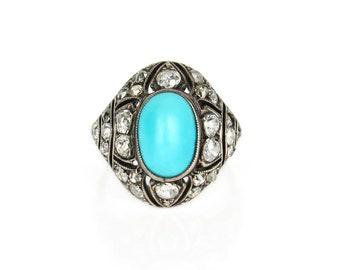 Art Deco Turquoise and Diamond Bombe Ring