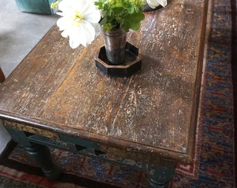 Antique Coffee Table Green and Brass Teak India Furniture