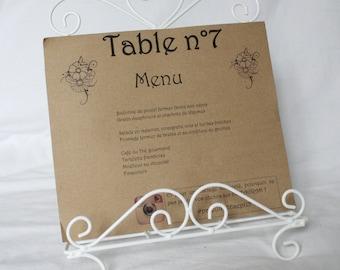 Menu number of Table Vintage kraft