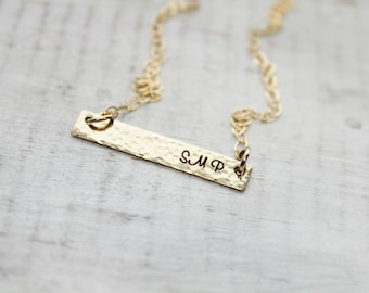 Gold Bar Necklace- Gold Filled Personalized Necklace- Hand Stamped Necklace- Personalized Necklace