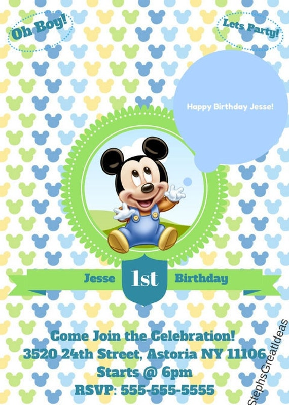 Disney baby mickey mouse 1st birthday invitation personalized disney baby mickey mouse 1st birthday invitation personalized digital file or printed invitations customized filmwisefo Images