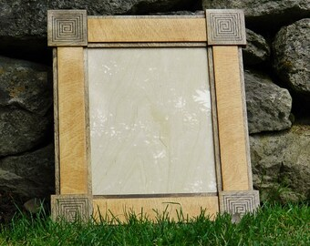 Aztec Design Hardwood Birch Picture Frame - Brown - 8x10 Photograph