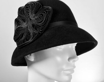 Black Fur Felt Women's Cloche Hat, Downton Abby Hat, Miss Fisher Hat
