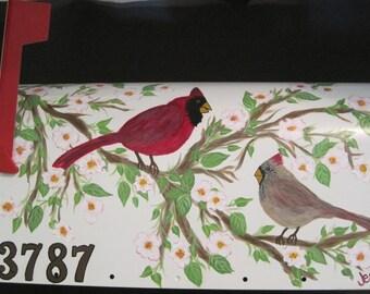 Male & Female Cardinals in Dogwood Tree Original Design  Custom Request Only