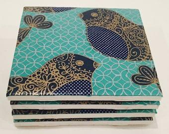 Adorned Birds on Aqua Tile Ceramic Coasters Set of 4 or 6   (Housewarming, Wedding, Graduation, Birthday)