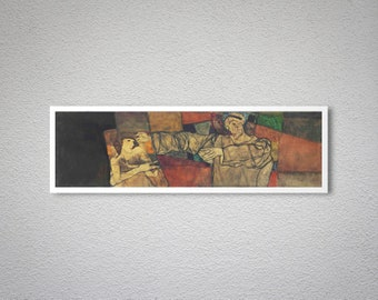 Selbstbildnis mit Modell (Fragment) by Egon Schiele - Poster Paper, Sticker or Canvas Print / Gift Idea