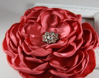 Wedding Satin Flower Pin in Coral with Crystals, 34 Colors