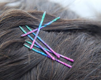 Decorative bobby pins, decorative hair pins, colorful bobby pins, glitter bobby pins, bobby pins, colored bobby pins, rainbow accessories