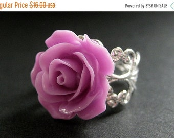 MOTHERS DAY SALE Lilac Purple Rose Ring. Purple Flower Ring. Filigree Ring. Adjustable Ring. Flower Jewelry. Handmade Jewelry.