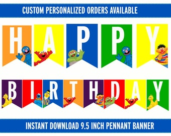 Sesame Street Birthday Banner - Printable - Instant Download - Happy Birthday Banner
