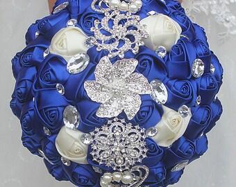 Royal Blue Satin Rose Bouquet Crystal Rhinestone Bridal Bouquet Bridesmaid Bouquet Brooch Bouquet Wedding Flowers