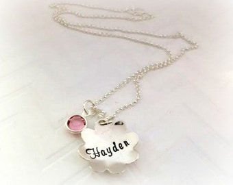 Flower Girl Name Necklace - Flower Charm Necklace - Birthstone Gifts for mom -Kids Jewelry - Personalized - Wedding Party Gift Ideas