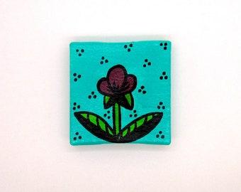 tout petit mini tableau - printemps - fleur bordeaux sur fond turquoise