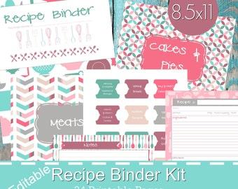 Printable Recipe Binder Kit, Personalized Family Recipe Binder, Recipe Pages, Recipe Organizer, DIY Recipe Binder Printable, Recipe Template