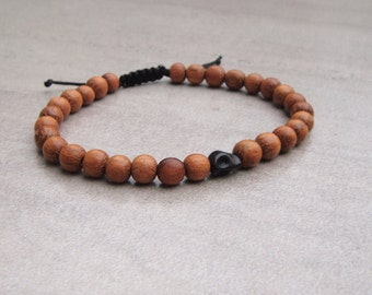 bayong wood bead bracelet / skull bead bracelet 6mm