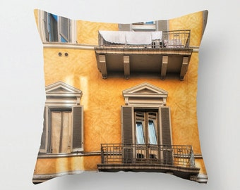 Pillow Cover, Rome Balcony, Gold, Windows, Laundry, Italy, Decorative Throw Pillow Cover, Architecture, fPOE, 16x16, 18x18, 20x20