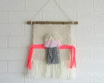 Woven Wall Hanging Woven Textural Weaving in Cream Grey Neon Pink Nursery Room Decor