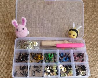 Plastic storage box - boxed set - needle felting kit - toy eyes - awl -craft box - doll eyes -toy eyes - organiser box - bead box - nail art