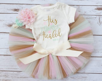"Easter outfit girl ""Nieva"" baby girl Easter outfit, pink mint and gold Easter tutu set, baby girl Easter outfit, first Easter, Easter tutu"