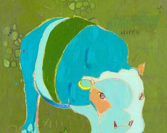 B Hippo Canvas Print by Jennifer Mercede 14X14