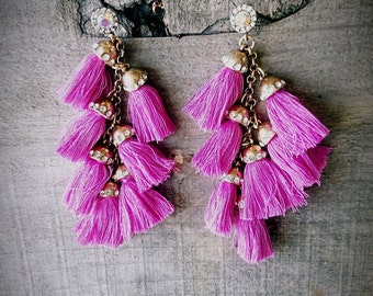 Fushia Tassel Earrings| Tassel earrings| long earrings| chandelier earrings| colorful earrings| statement earrings| tassel| tassel jewelry