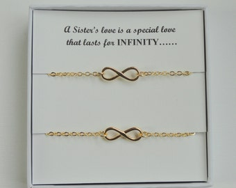 Sister gift, Two infinity bracelets, Gold infinity bracelet, Infinity bracelets, Infinity jewelry, Gifts