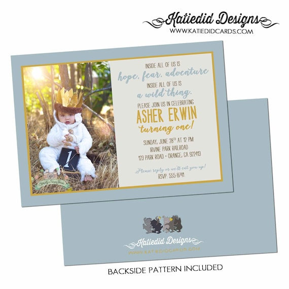 where the wild things are wild one birthday baby shower invitation boy sprinkle pregnancy announcement photo picture | 224 Katiedid Designs