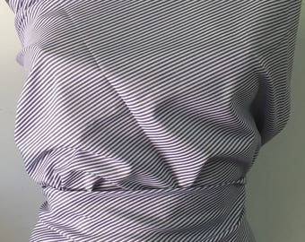 3 metre Poplin thin stripes woven blue/white polycotton 100gr M2 lot 66