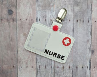 Nurse Badge, White Vinyl with Metal Clip and Photo Slot, For Halloween Costume and Dress Up Play, Photo Prop, Medical RN ID Badge