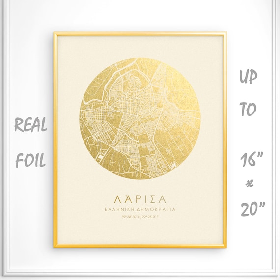 Larissa 16x20 City Map Gold Print Real