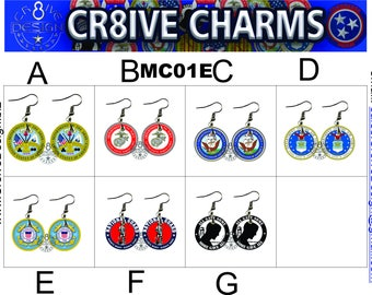Military 1in Earrings. Armed Forces  Veterans,  MC01E