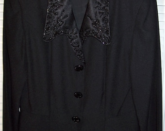 Jacket 8- 10, Evening Jacket,NOW 25.00 Beaded Collar, Jet Black Beaded Buttons, Stunning Dressy Jacket, by Demetrog, - see details
