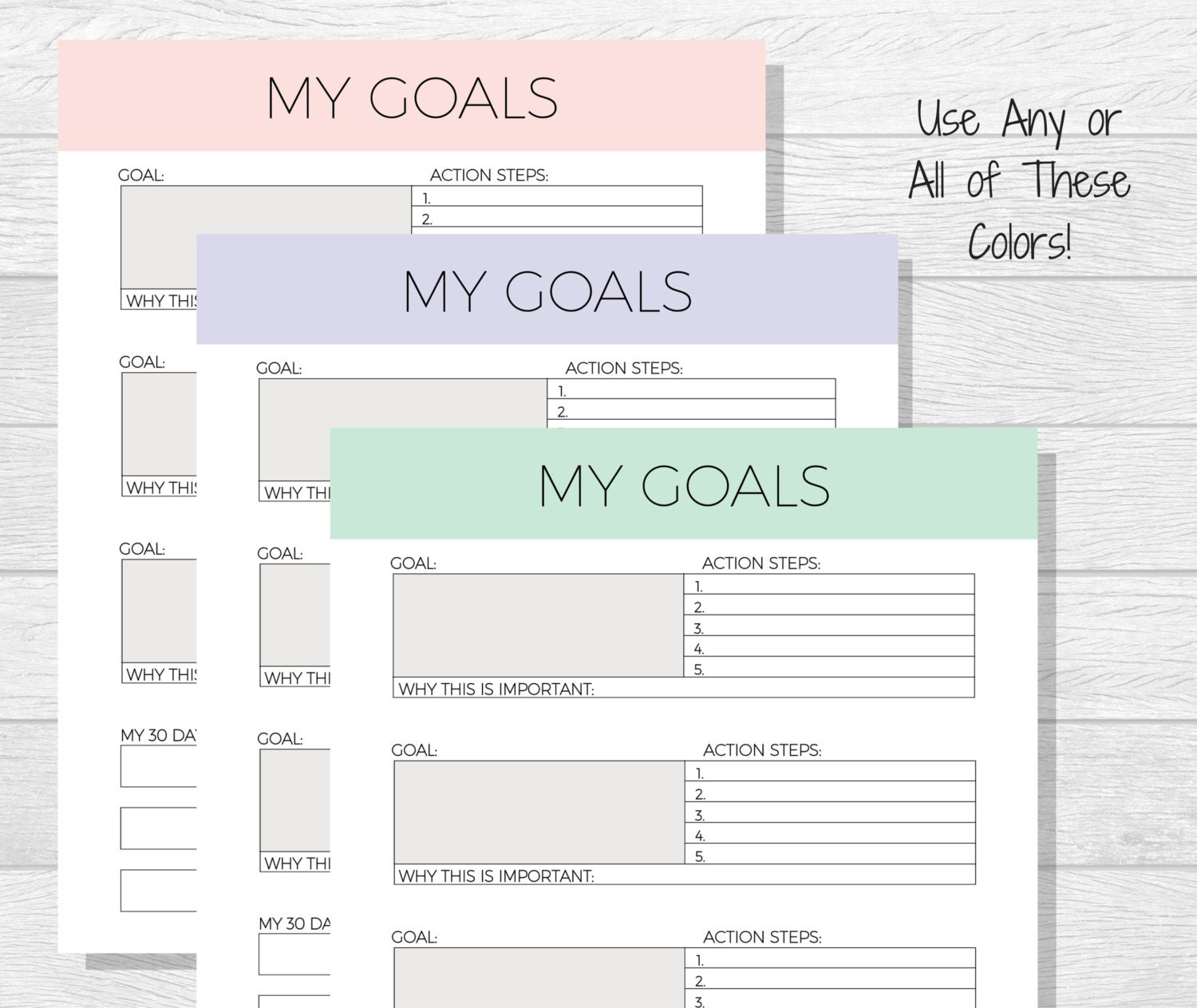 Worksheets Life Goals Worksheet goal template planner printable life goals printable