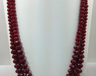 "Ruby Red quartz 22"" necklace"