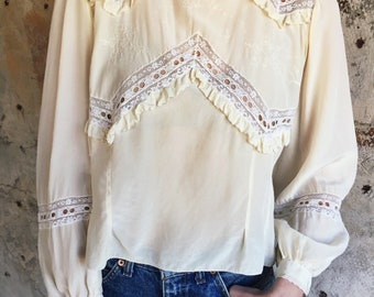 The Poetess 1920s Creme Silk Ruffle Embroidered  Button Down Shirt S/M