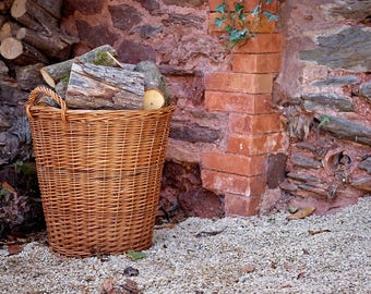 Large Lined Wicker Log Basket