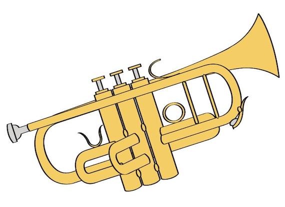trumpet illustration digital download music clip art trumpet rh etsy com clipart trumpet player clipart trumpet player